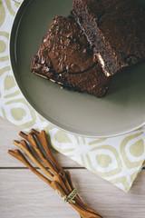 Dark Chocolate Brownies on a Plate