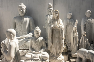White marble statues of gods