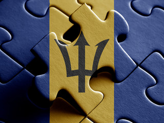 Barbados FLAG PAINTED ON PUZZLE