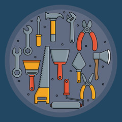 repair tools in circle shape over blue background vector illustration
