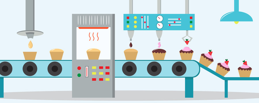 Cupcakes factory. Machine for the production of cupcakes with chocolate, cream and strawberry. Flat style.
