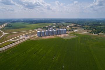 Aerial image farm storage silos