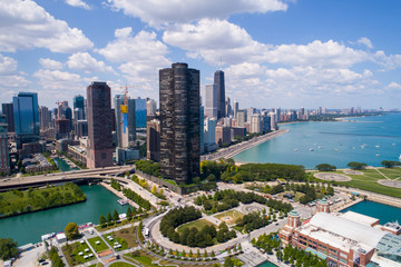 Poster de jardin Chicago Drone image of Downtown Chicago IL