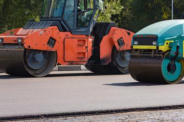 asphalt compactor on the road