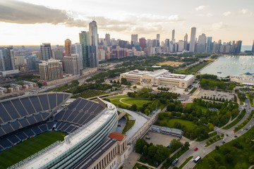 Aerial image of Soldier Field and Downtown Chicago