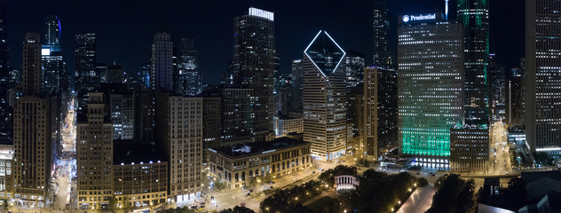 Aerial image Downtown Chicago at night
