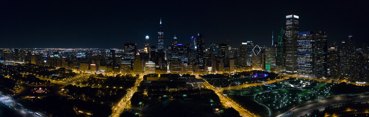 Aerial Downtown Chicago at night