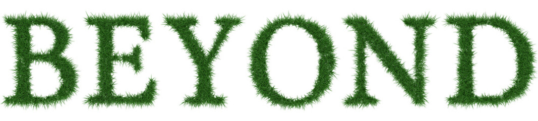 Beyond - 3D rendering fresh Grass letters isolated on whhite background.