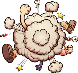 Cartoon brawl cloud. Vector clip art illustration with simple gradients. All in a single layer.