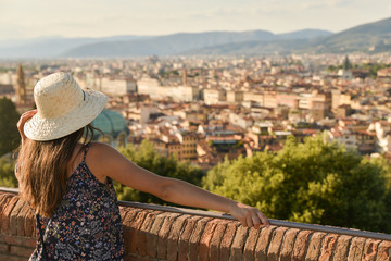 Girl admiring Firence, Italy
