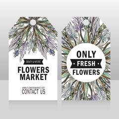 Vector composition of meadow flowers. Ticket, card