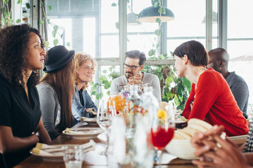 Lunch With Friends - Group of Six Good-Looking Young People Conversing Over Luncheon