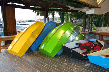 Colorful wooden boats