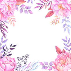 Hand drawn watercolor illustration. Frame with leaves, branches and flowers. Watercolor ready to use card. Save the date. Perfect for invitations, greeting cards, prints, posters and more