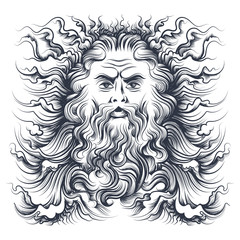 Neptune Head Illustration