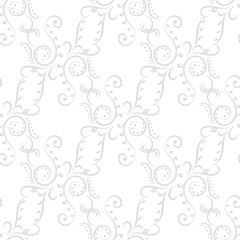 Seamless pattern with light gray ornaments