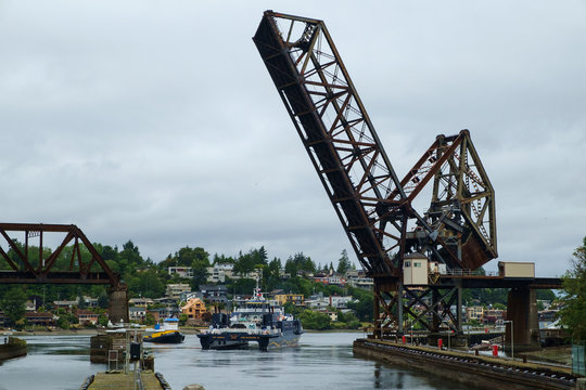 Ferry M/V Susitna passing below Salmon Bay Bridge