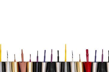 Nail polish brushes isolated on white background