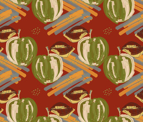 Rough abstract green apples with leaf on orange strokes