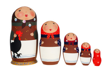 Set of Russian dolls Babushka Matrioshka isolated on white background