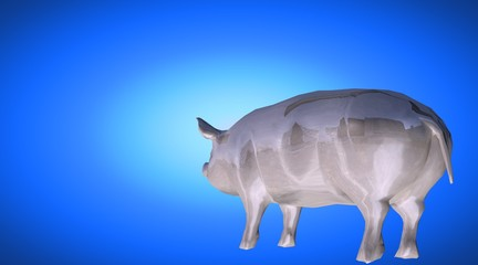 3d rendering of a reflective fat pig animal on a background