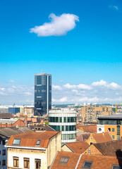 Cityscape view in morning of Brussels with Tour du Midi, tallest building in Belgium