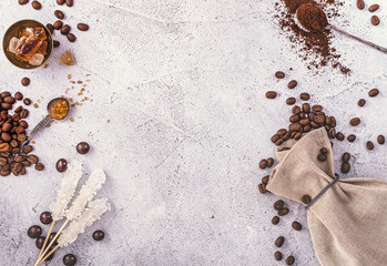 Background with variety of items for brewing coffee with copy space. Top view