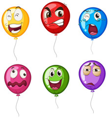 Helium balloons with facial expressions
