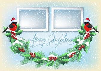 Christmas card with two photo frames, garland and bullfinch  in retro style