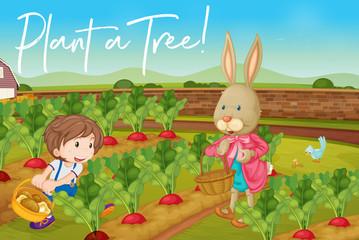 Deurstickers Boerderij Boy and bunny in vegetable garden and phrase plant a tree