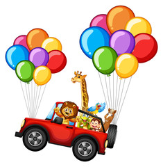Many animals on jeep with colorful balloons