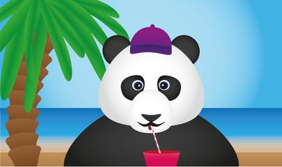 Panda am Strand trinkt Cocktail
