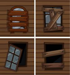 Broken windows on wooden wall
