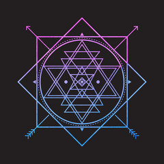 Bright vector sacred symbol on black background