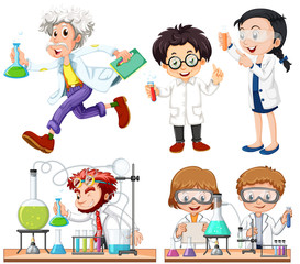 Many scientists doing experiment