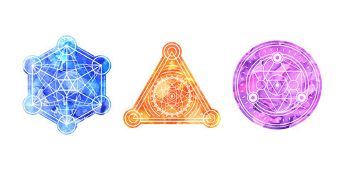 Set of bright colored sacred shapes . Watercolor background is cut in shape.Vector symbols