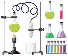 Different science containers and equipments