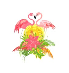 Beautiful wedding Hawaiian design with pair of lovely flamingo, sun, tropical leaves and flowers
