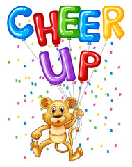 Cute lion cub with balloons and word cheer up