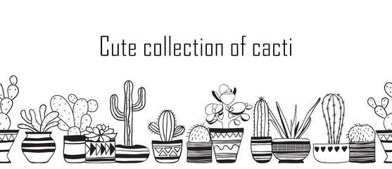 Seamless row of cute cacti . Houseplants vector collection .