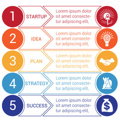 Startup bussines minimal infographic circles arrows 5 positions