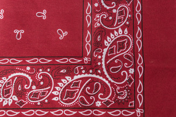 Bandanna pattern red color, close up.