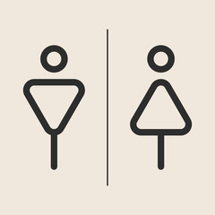 Concept and idea icon of toilet. Stroke vector logo, web graphics. Isolated background. Vector illustration.