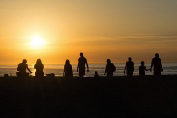 Silhouettes of people on the beach, watching the sunset