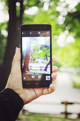 A hand holds a mobile phone, take a picture using a phone in the park. Vertical photography.