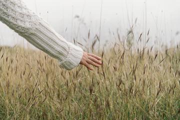 Woman running her hand through autumn grass