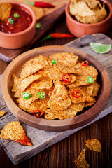 Nachos With Guacamole And Chili Sauce
