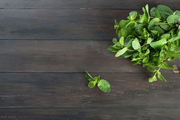 Organic fresh sprigs of mint on the wooden table