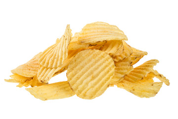 Ribbed potatoes snack chips close up isolated on white background.