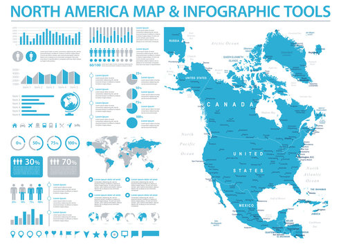 North America Map - Info Graphic Vector Illustration
